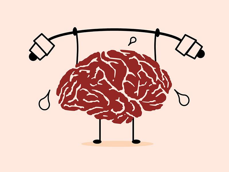 Dual-Task-Aufgabe: Gehirn im Comic-Look hebt eine Hantel nach oben