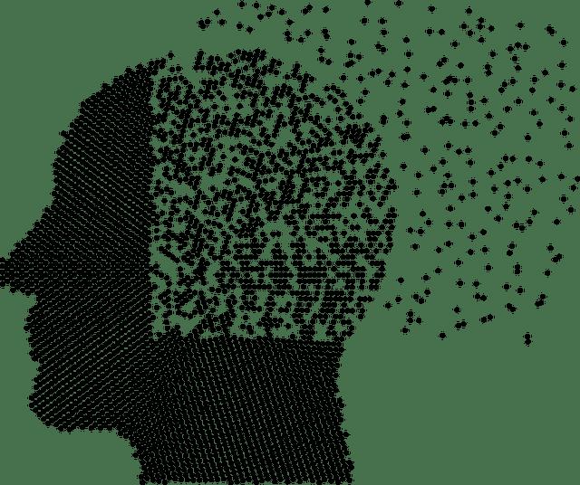 Kopf aus Punkten, die im Bereich des Gehirns weniger werden