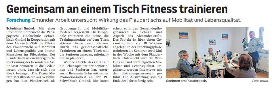 """Foto eines Artikels aus der Gmünder Tagespost über den Plaudertisch mit dem Titel """"Gemeinsam an einem Tisch Fitness trainieren""""."""