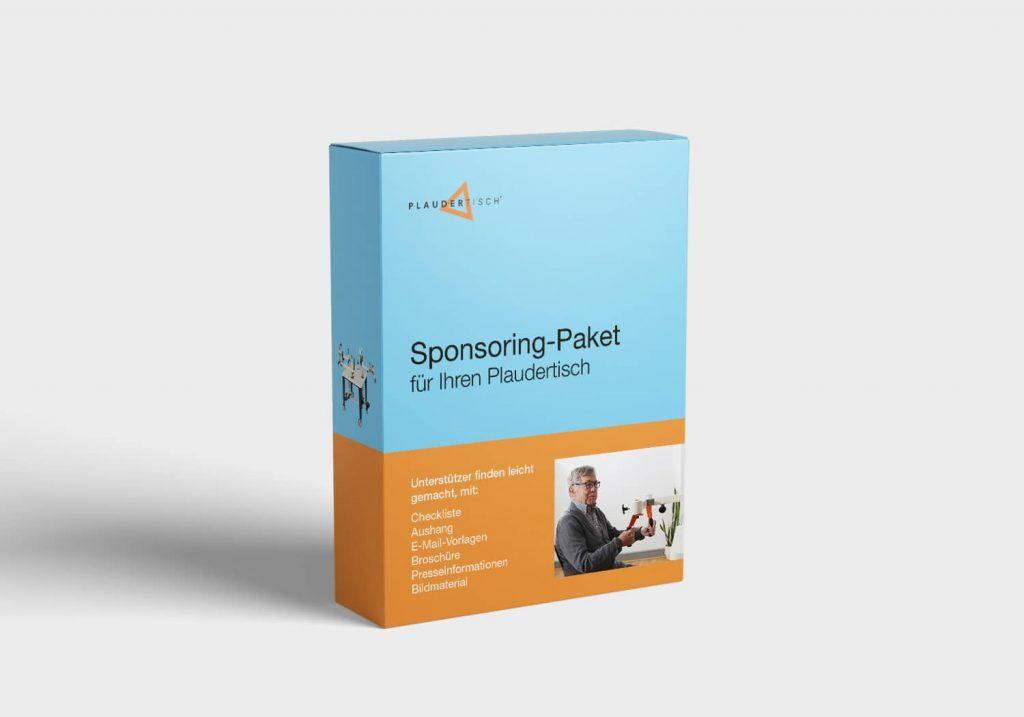 Orange-Blaue Box mit Aufschrift Sponsoring-Paket