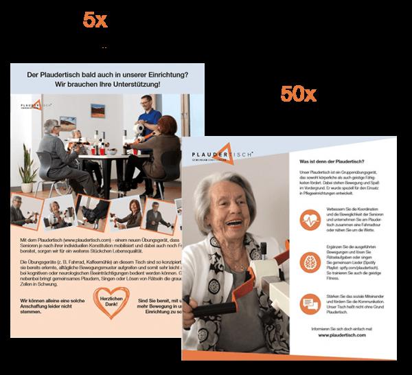 Poster und Cover des Informationsflyer mit Mengenangaben 5x Poster und 50x Informationsflyer