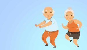 Zwei gezeichnete Senioren laufen auf der Stelle vor einem blauen Hintergrund