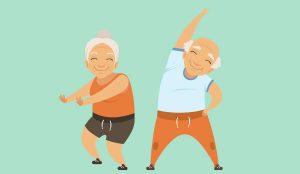 Zwei gezeichnete lächelnde Senioren strecken sich vor einem grünen Hintergrund