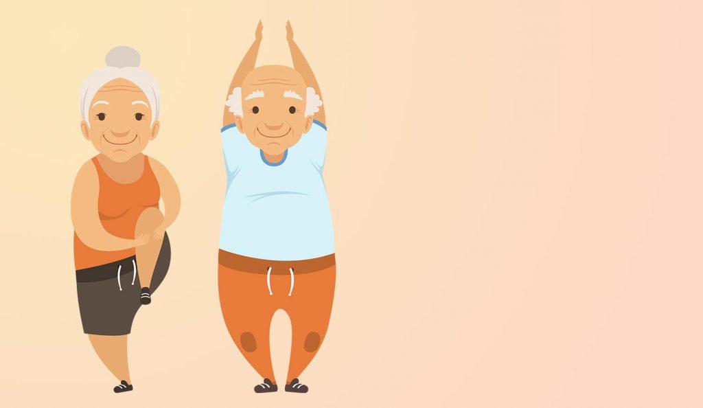 Zwei gezeichnete Senioren bewegen sich vor einem orangenen Hintergrund