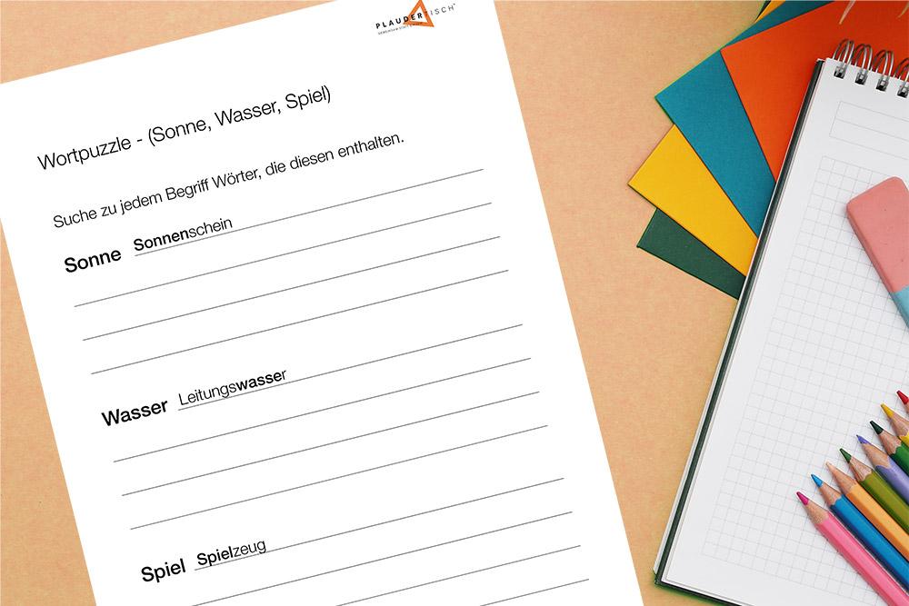 Wortpuzzle-Rätsel für Senioren zum Ausdrucken