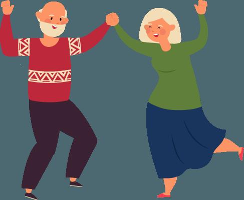 Eine Seniorin und ein Senior tanzen zusammen und heben die Arme in die Luft.