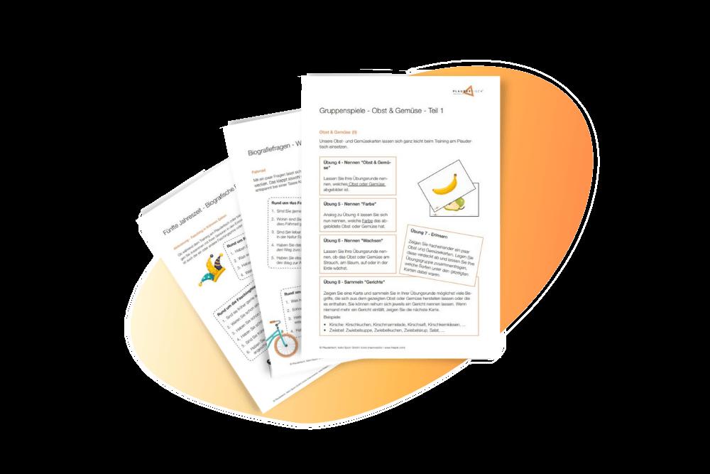 Blätter mit Beschäftigungsideen für Senioren vor einem orangenen Hintergrund