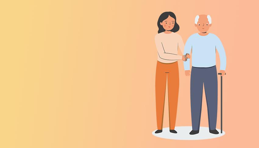 Illustration einer jüngeren Frau, die einen Senior mit Stock am Arm hält vor einem orangenen Farbverlauf.