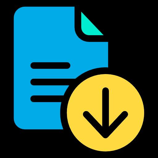 Blaues Icon einer Datei mit Download-Pfeil