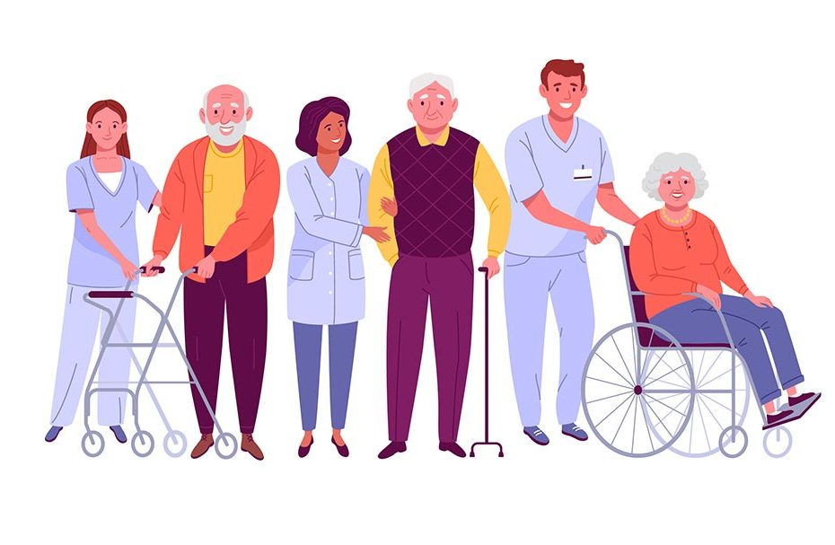 Pflegekräfte und Senioren nebeneinander im Comic-Look