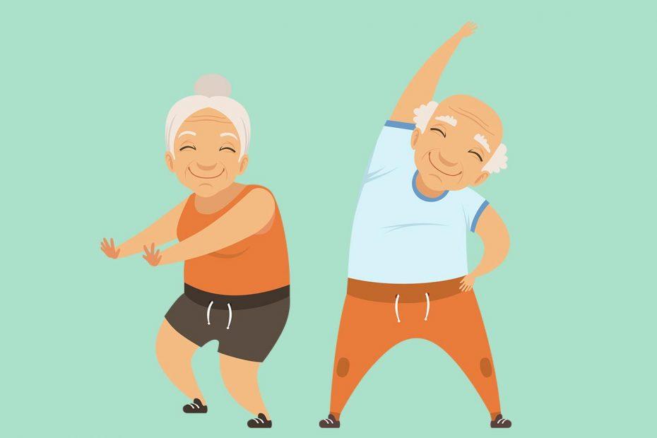 Zwei gezeichnete Senioren machen Gymnastikübungen vor einem grünen Hintergrund