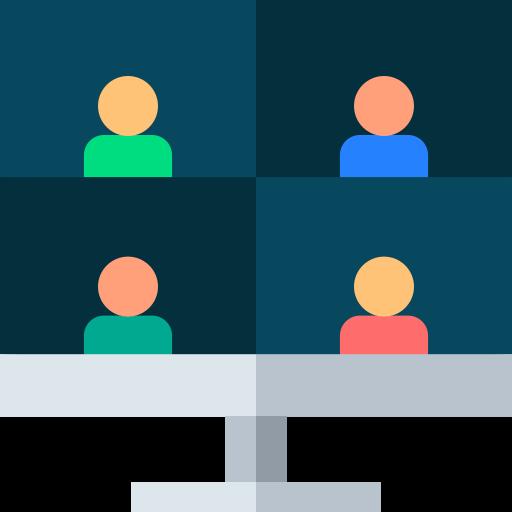 Bildschirm auf dem vier Personen in vier Ecken angezeigt werden