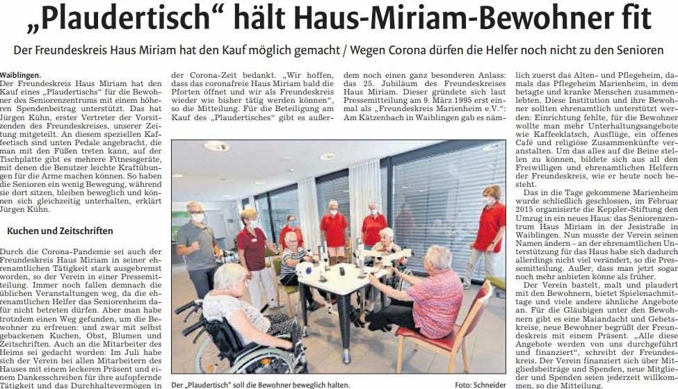 """Foto eines Artikels aus der Gmünder Tagespost über den Plaudertisch mit dem Titel """"Plaudertisch hält Haus-Miriam-Bewohner fit""""."""