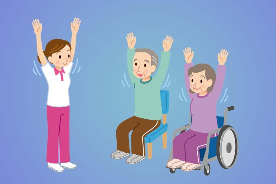 Illustration eines Seniors auf einem Stuhl und eine Seniorin im Rollstuhl, die bei der Sitzgymnastik die Hände nach oben heben. Links daneben steht eine Pflegerin, die auch ihre Arme hoch hebt.