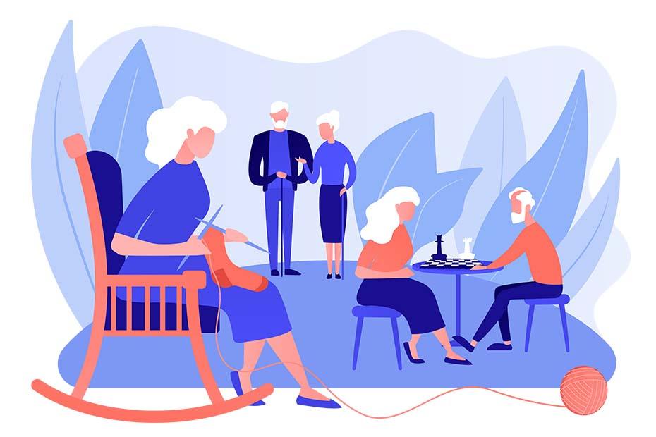 Grafik von Senioren, die vor einem blauen Hintergrund verschiedenen Tätigkeiten nachgehen wie Schach an einem Tisch spielen, in einem Rollstuhl häkeln.