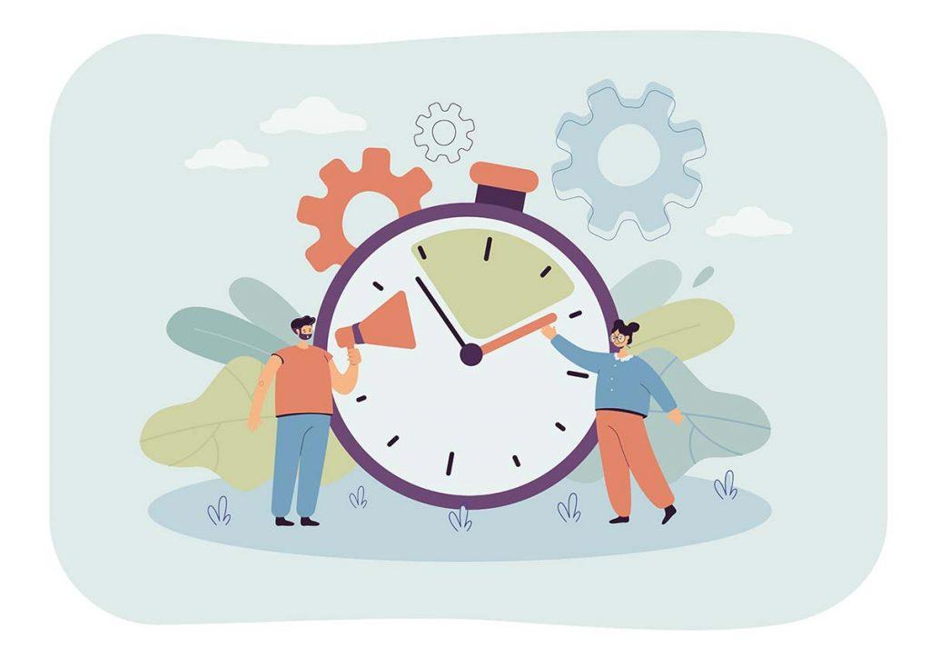 Symbolbild für 10 Minuten Aktivierung mit einer Mann und einer Frau vor einer großen Uhr