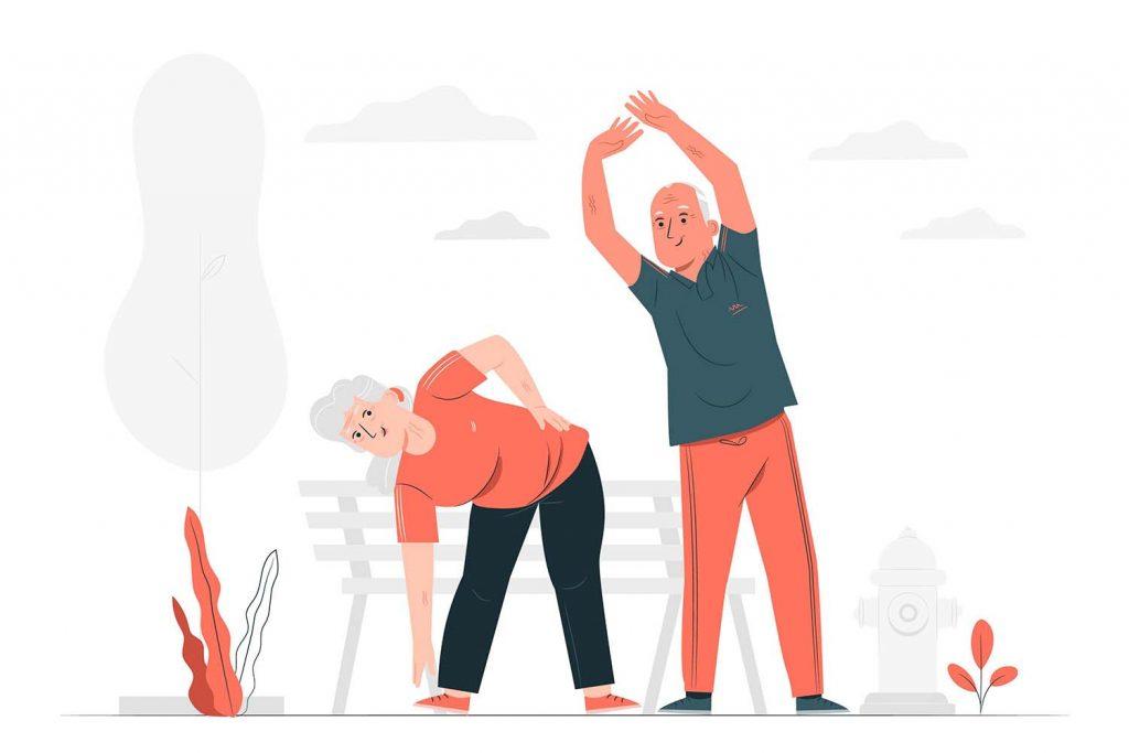 Illustration von zwei Senioren beim Sport. Die Seniorin beugt sich nach vorne, der Senior streckt die Arme nach oben. Im Hintergrund sieht man eine Bank und Pflanzen.