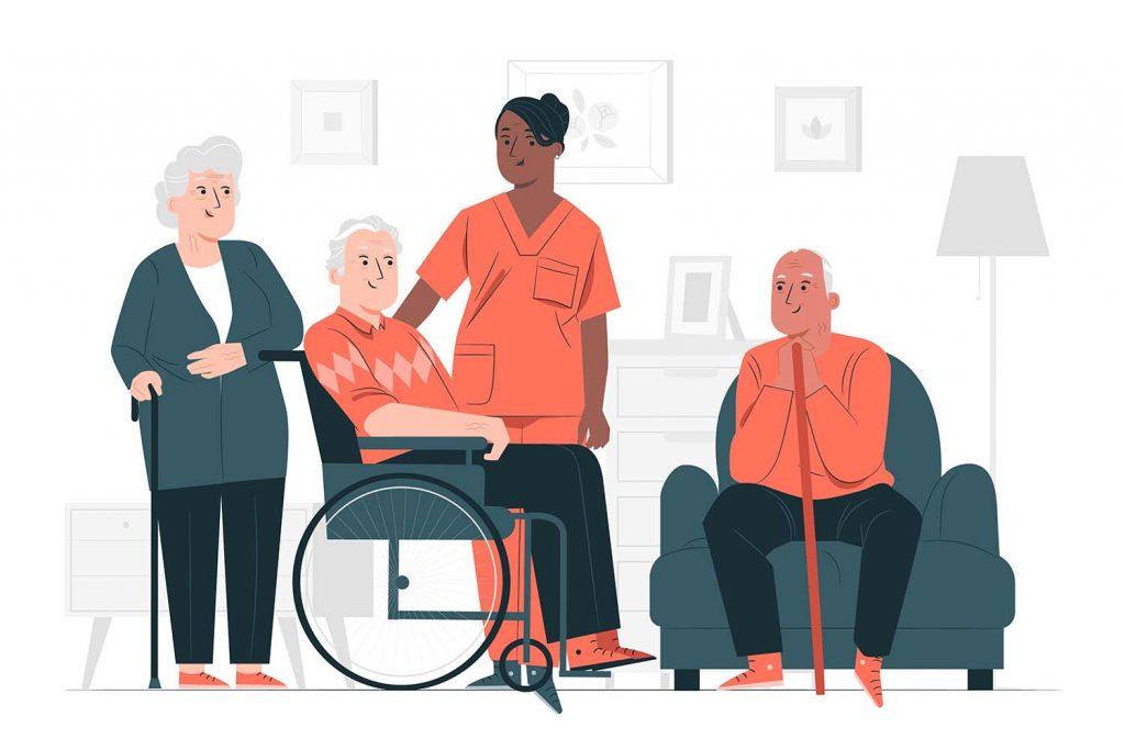 Illustration einer 10 Minuten Aktivierung. Eine Pflegerin steht, davor sitzt ein Senior im Rollstuhl links steht eine Seniorin und rechts sitzt ein Senior in einem Sessel.