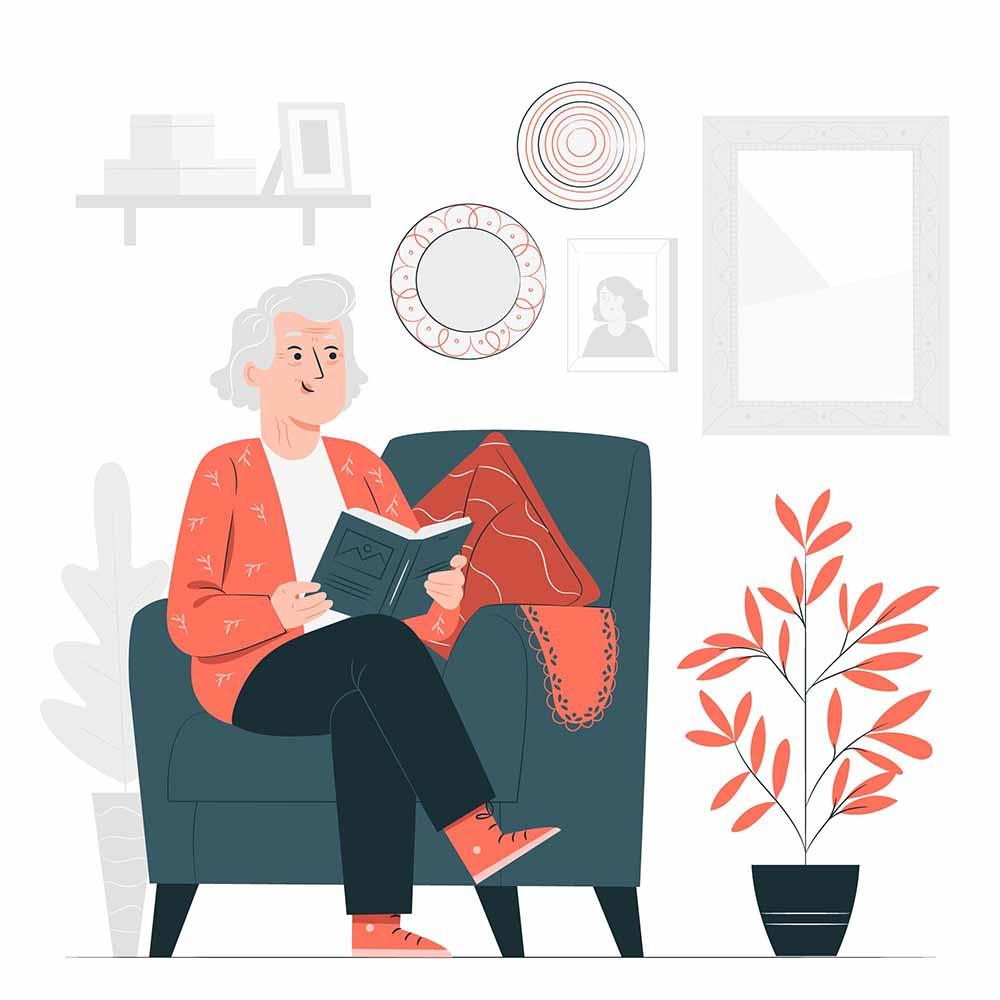 Illustration einer Seniorin auf einem Sessel mit Buch in den Händen.